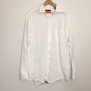 Alfani fitted stretch white button down shirt L